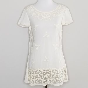 Anthropologie Maeve | Sheer Cream Lace Blouse | 6